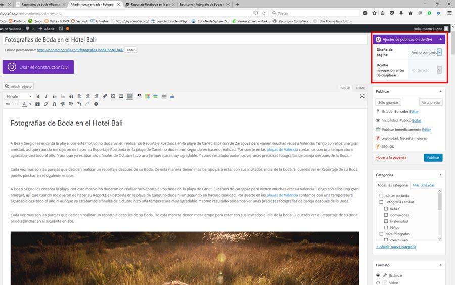 plantilla divi para posicionar tu blog